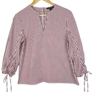 Express Striped 3/4 Length Tie Sleeves Blouse
